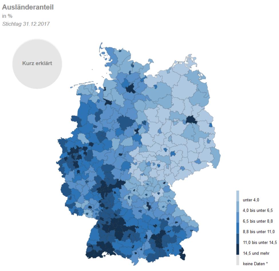 Karte Statistiken zu Auslaendern und Schutzsuchenden Fluechtlingen Statistisches Bundesamt Destatis